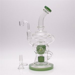 Global delivery Color edge Green A core Hookahs 10Inch Height Circulating Water Glass Bong with 1 clear bowl included & 1 Quartz banger