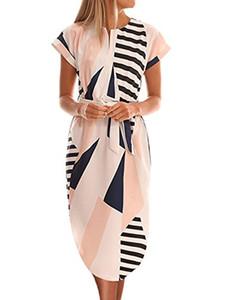 TEMOFON Bayan Elbiseler Yaz Rahat Çiçek Geometrik Desen Kısa Kollu Midi V Yaka Parti Maxi Elbise Kemer (S-2XL)