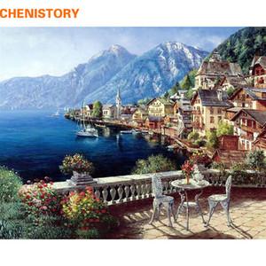 CHENISTORY Seascape Oil Painting By Numbers fai da te Digital Pictures Coloring per numero su tela Regali unici della decorazione della casa 40x50 Y200102