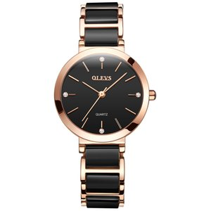 OLEVS nuovo cinturino in ceramica nera / bianca elegante orologi al quarzo cronografo diamante orologio da donna impermeabile da donna moda orologio da polso regalo