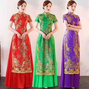 Plus Size 3XL 4XL 5XLChinese Donne Tradizionali Aodai Ricami Sequin Qipao Vintage Cheongsam Novità Cinese Abito formale
