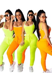여자 디자이너 Tracksuit 수영복이 조각은 민소매 긴 반바지 패션 조깅 스포츠 정장 수영복 섹시한 여성 의류 klw1005를 설정합니다