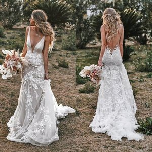 Sexy V Neck 2020 Mermaid Wedding Dresses Country Lace Open Back Vestidos De Novia Court Train Beach Garden Bridal Gowns