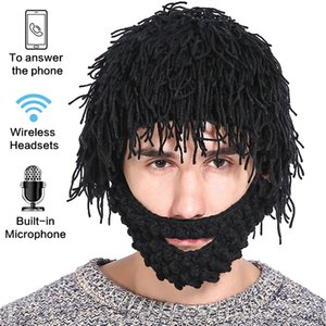Knitted Earphone Beanie Halloween Mystery Outdoor Sport Hands-free Funny Gift With Wig 2-in-1 Bluetooth Hat Beard Hats