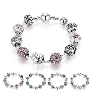 Chaud Style Fine Tibétain Silver Perles Bracelet Pandora Charms Perles de verre Bricolage Bracelet en perles Bracelet rose Blanc Blanc Vert 4 couleurs BFJ795