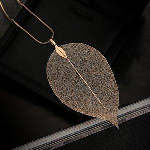 Designer Leaf Pendant Collier d'or de la chaîne Pull Collier fantaisie charme Colliers pour hommes Colliers Déclaration femmes Boho Bijoux cadeau