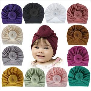 Casquillo del cráneo del bebé India gorras Chica Donut sólido del sombrero del algodón Ins nudo turbante infantil Beanie Cabeza Wraps diadema Sombrero infantil Headwears BYP6206