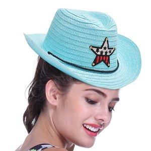 8 Colors Outdoor Boy Cowboy Hat Summer Cute Star Straw Hat For Boys Girls Children's Star Patch Sun Hat Cute Kids Cap