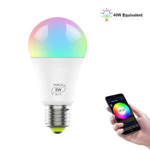 5W 스마트 전구 (40W 상당), E27 WiFi LED 멀티 컬러 RGBCW 라이트 디 밍이 가능한 전구, Alexa 및 Google과 호환 가능
