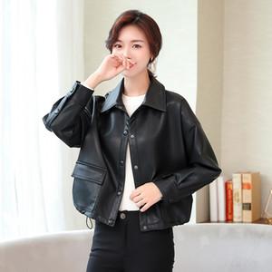 Orwindny couro falso jaqueta Mulheres ins primavera motocicleta Outono Jacket estilo Casual Preto Casacos PU 2019 Brasão HOT