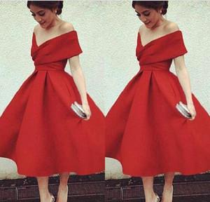 Новое поступление линии с плеча чай длиной красные вечеринки платья Ruched короткие дешевые коктейльные коктеил короткие платья выпускного вечера
