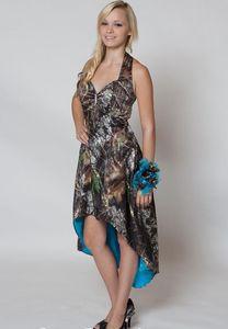 Высокие низкие дешевые платья платья подружки невесты Camo Camo Front Front Front Back Blue Backless Backless Prom вечернее платье для свадьбы