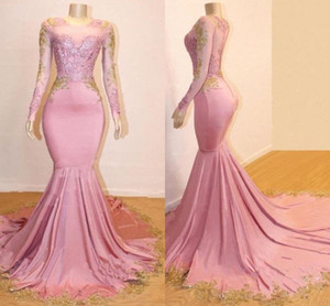 2019 Party New Sheer Long Sleeves Mermaid Long Prom Dresses Black Girls Gold Lace Applique Sweep Train Formal Party Evening Gowns E71