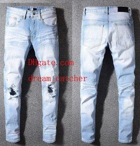 2019 джинсы скинни мужские рваные джинсы джинсы Мотоциклетный байкер Джинсовые штаны Мужчины Марка модельер Хип-хоп Мужские джинсы для Hommes AB-22