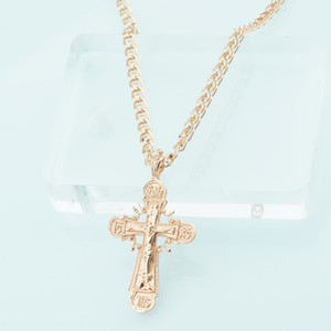 FJ Trendy Women Mens 585 Rose Gold Color Cross Pendant Christian Jewelry +Optional Necklace Chains