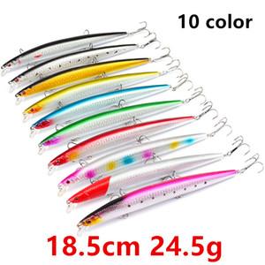10 لون 18.5CM 24.5g أسماك الصيد هوكس الخطافات 2 # هوك الصيد السحر الطعوم الثابت السحر PESCA معالجة صيد الاسماك B14_56