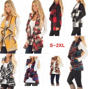 Mulheres Lapel Plaid casaco de lã bolso do colete Brasão Irregular check mangas Jacket AAA116 coat Abrir Frente Blusa Exteriores Colete tanque de senhora