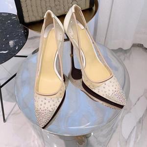 La parte inferior roja de los altos talones de rejilla Rete estilo punta estrecha rhinestones bombas de cristal bling de plata de oro las mujeres tacones de zapatos de boda fiesta c22 02