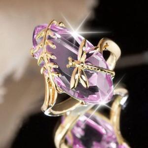 2020 en or rose pierre vert vintage Dragonfly Bagues de femmes fille anniversaire anniversaire bijoux bague cadeau drop ship bague en cristal brillant