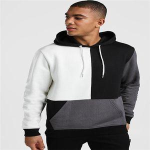 Erkek Tasarımcı Patchwork Kapüşonlular Uzun Kollu Moda Kapşonlu Genç Tişörtü Ekose Baskılı Kontrast Renk Erkek Giyim