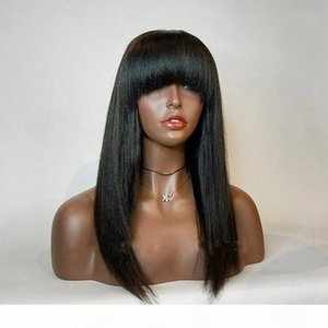 Synthetic Lace Front Wig With Bang Glueless Long Black Straight High Temperature Fiber Hair Synthetic Lace Wigs For Black Women