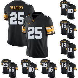 Iowa Hawkeyes # Akrum Wadley C.J Beathard Çad Greenway Marshall Koehn Noah Fant Üniversite Futbolu Dikişli Formalar Siyah