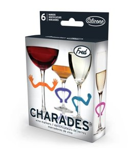 Bebidas creativas de la Copa del reconocedor de silicona Charades Manos Forma pura de color vino tinto Partido marcadores Suministros Copas Identificador 6pcs E1 3 6my