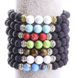 8 MM Schwarz Lava Stein Perlen Armband Volcano Rock DIY Ätherisches Öl Diffusor Armband für Frauen Männer Schmuck