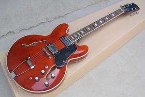 Custom Factory semi-hollow vino rosso chitarra elettrica con nero Pickguard, tastiera in palissandro, Bianco rilegatura, può essere personalizzato