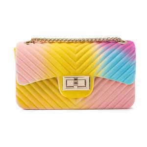 Donne di lusso borsa del progettista V-tipo arcobaleno gelatina Borsello per le donne Borse Flap catena di spalla delle signore piccola borsa