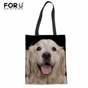 Forudesigns kadınlar golden retriever köpek baskı alışveriş çantaları tuval çanta omuz çantası kız yeni moda büyük kapasiteli çanta