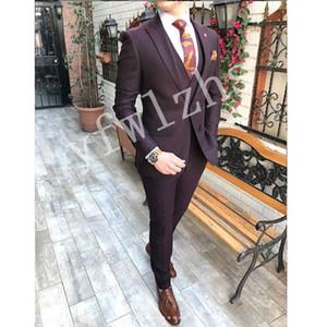 Guapo Groomsmen Peak Lapel Sapel Groom TUXEDOS MENS Vestido de novia Chaqueta Chaqueta Blazer Cena de baile de 3 piezas traje (chaqueta + pantalones + corbata + chaleco) B438