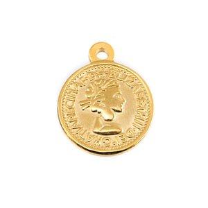 Sikke Kolye Pound Elizabeth II, Euro 10 Cent Paralar Gerçek Paslanmaz Çelik Vintage Kalın Charms Kolye Tek Delik Toptan 10 adet