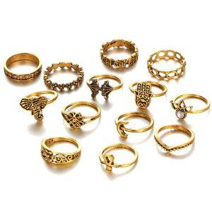 Ретро Vintage костяшки Набор колец для женщин девочек 13 шт Elephant цветок ладони дизайн бронзы и серебра цвета