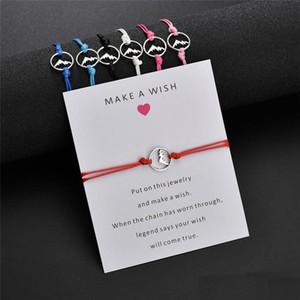 Handmade trançado fazer um cartão de desejo Bracelet corda de cera para Mulheres Homens prata Vulcão Charme Pulseira Bijuterias Valentines Day Gift