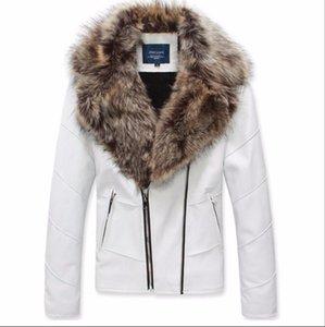 New Fashion Men Brand Fur Coat Biker Jacket Motorcycle Slim Male Double Zipper Leather Jacket with Fur Collar Thicken