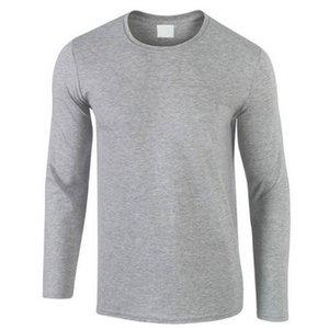 Autunno Nuova maglietta del cotone 100% uomini, ultra basso prezzo a maniche lunghe da uomo maglietta di alta qualità O-Collo puri degli amanti di colore Tshirt