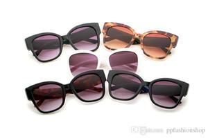 0059 Rebites de três cores listra Sunglasses Color Contrast Praça Leopard Cabeça Óculos NOVO Moda Womens Vidros com caixa