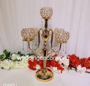 Son Kristal Düğün Centerpiece cam Altın Şamdan Temizle Mumluk Olay Parti Masa Dekorasyon decor1021