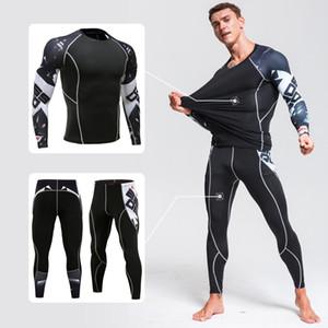 Thermique sous-vêtements Sous-vêtements pour hommes mens costume vêtements tête de loup 3D couche de base de jogging de fitness d'impression thermique compression SXXXL collants underwea