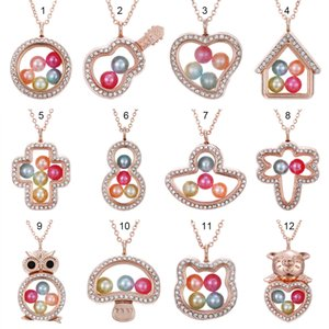 """Rose Gold Dragonfly Cross Owl More Style 8mm Pearl Beads Cage Magnetic Glass Floating Locket Pendants Necklace Women Charms 27"""""""
