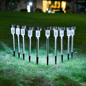 10pcs / lot Stainless Steel Lawn Solar Lawn Light For Garden Decorative 100% Solar Power Outdoor Solar Luminaria