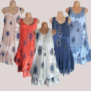 Frauen-Dame-Sommer-Sleeveless Blumen-Doppelt-Deck loser O Ansatz beiläufiger T plus Größen-Sommer-Minikleid