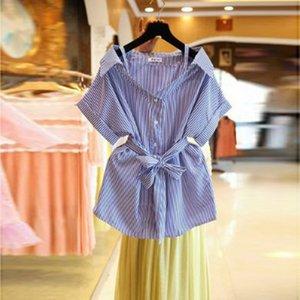 Slim Strapless Womens Tops and Blouses 2020 Summer Korean New Striped Sweet Sling Women Shirts Sashes Slash Neck Ladies Tops