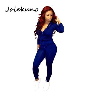 Joiekuno Autumn Spring hooded Sexy Fashion Club Rompers women Jumpsuit Solid zipper casual Two piece set Women Set