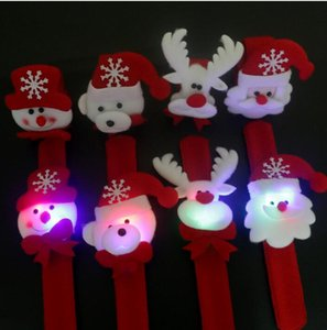 Eco-Friendly Noël Noël Noël Slap Bracelets Père Noël bonhomme de neige Toy Slap Pat avec Bracelet LED Cercle Wristhand Décoration