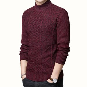 Homme Automne Hiver Pull en laine Blend texturé en tricot Hauts Hommes Slim Fit doux Pull en cachemire Tricots Hommes