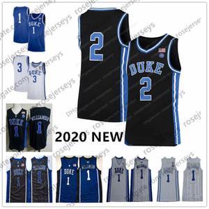 2020 Duke Blue Devils # 1 Sião Williamson 2 Cam Reddish 5 RJ Barrett 20 Marques Bolden 45 Keenan Worthington Black White Jersey 4XL