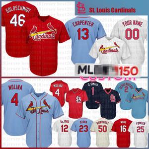 46 Paul Goldschmidt baseball Jersey 1 Ozzie Smith 4 Yadier Molina 25 Dexter Fowler maglie Majestic fredda mens Base