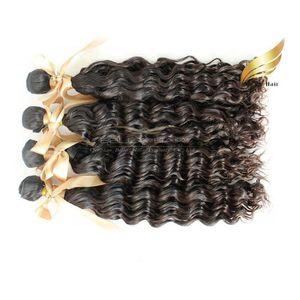 "100% Mongolian Virgin hair 8""-30""4pcs lot Human Hair Weaves Extensions Deep wave Hair Products Natural Color Bellahair In Bulk"